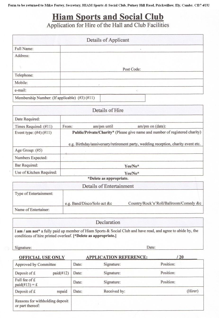Hire Application Form
